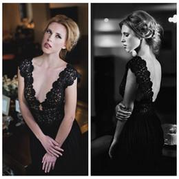 Wholesale Ivory Maxi Dresses Online - Sexy Deep V-Neck Lace Black Evening Dresses V-Shape Back Custom Online 2016 Formal Women Maxi Dress