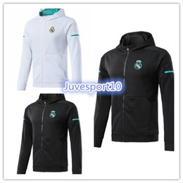 Wholesale mens zipper sweaters - top mens hoodies new real madrid soccer jersey jacket 17 18 ISCO BALE ROBBEN VIDAL DYBALA HIGUAIN Zipper Hooded jacket sweater