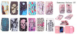 Wholesale Galaxy S4 Leopard Cases - Print leopard print horse human skeleton Leather Flip Cell Phone Case Cover For Samsung Galaxy S4 S5 S6 S7edge Wallet & Stand+Hand Strap