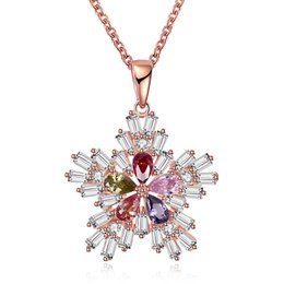 """Wholesale Gold Crystal Snowflake Charm - Christmas Series Snowflake Pendants Necklace Rose Gold Plated Xmas Gifts Crystal Cubic Zircon Charm Jewelry Handmade Chain 18""""inch GPN1201-B"""