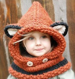 Wholesale Crochet Hats For Girls - 2017 fox and wolf winter boy and girls kids knitted hats yarn crochet hats handmade winter hats for 0-5T baby winter hats+scarf 5pcs lot