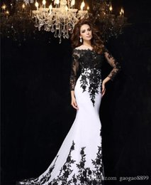 Wholesale Long Cocktail Dress Tail - 2016 Long Dress Tailing Decals Lace Wedding Dresses Long Sleeve Black Plus Size Cocktail Wedding dress White Chiffon Formal Bridal Gowns