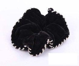 Wholesale Black Pony Tail Holders - Free Shipping Black Velvet with crystal hair scrunchies Woman Hair Accessory Bling Bling elastic hair bands