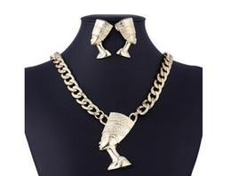 Nuovo classico esagerazione femminile set di gioielli simbolo giusto della catena di clavicola classica in lega di faraone egiziano da