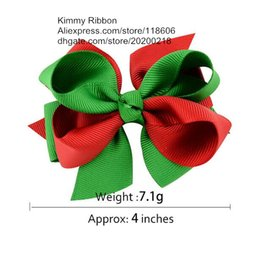 Wholesale Ribbon Layered Hair Bow - 100pcs Baby Boutique Christmas Layered Grosgrain Ribbon Hair Bow Clip