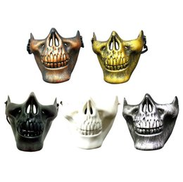 Wholesale Half Skulls - CS Mask Carnival Gift Scary Skull Skeleton Paintball Lower Half Face facemask warriors Protective Mask For Halloween Party Masks