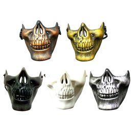 Máscaras de paintball esqueleto online-Máscara de CS Carnival Gift Scary Skull Skeleton Paintball Máscara de cara media Máscara facial Máscara protectora para Halloween Máscaras de fiesta