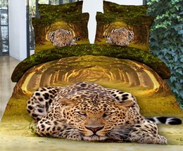 Wholesale Leopard Print Bedding Cheap - Duvet Cover Sale 1set(4 Pieces) Bed Sheet 2016 Direct Selling Cheap Lazy Lying Leopard Printed Full Size 3d Reactive 4 Pieces Bedding Sets