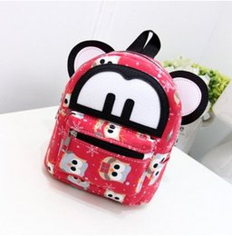Wholesale Small Ears Cartoons - 2016 new trend version of Mickey canvas big ears cartoon Mini backpack. Primary school bag. High quality canvas fabric.21 inches.Two wave.