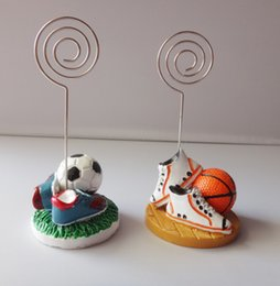 Wholesale Wedding Card Designs Free - FREE SHIPPING Fashionable Design Resin Basketball Place Card Holder Sports Themed Wedding&Party Favor and Accessories+100pcs LOT