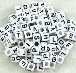 Wholesale Alphabet Letter Cube Acrylic Beads - Hot ! 300 pcs 6mm White Black Acrylic Cube Letter Alphabet Beads spacer Big hole Beads