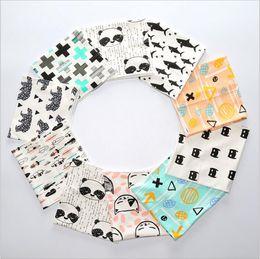 Wholesale Cartoon Shawl - Kids Scarves Fox Panda Animal Print Winter Neckerchief Baby Cartoon Cotton Scarves Wrap Kids Fashion Warm Shawl Ring Accessories Wraps J487