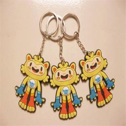 Wholesale Tom Cartoon Mascot - 2016 New Arrival 3D Keychains Brazil Olympic Rings Key Chain Mascot Vincius and Tom PVC Cartoon Pendant Keychains Children Rio Toys