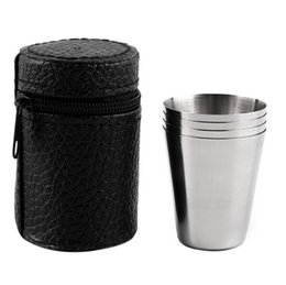 Wholesale Tea Sets Camping - 1 Set of 4 Stainless Steel 30ML, 70ML, 180ML Camping Cup Mug Drinking Coffee Tea With Case Popular New new arrival