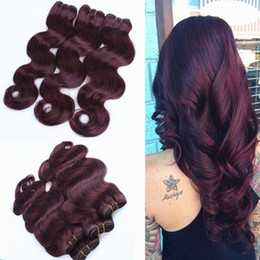 Wholesale Cheap Red Human Hair Extensions - 9A Cheap Wine Red Peruvian Human Hair Extensions Hot Pure Color #99J Burgundy Body Wave Hair Weave Weft 3 Bundles Lot Free Shipping