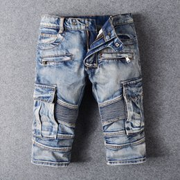 Wholesale Spliced Jeans - Wholesale-BP brand men jeans Shorts Spliced jeans men casual Short mens jean Distressed skinny motorcycle denim pants pantalones vaqueros
