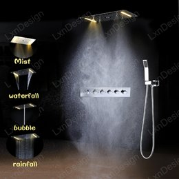 Wholesale Led Faucets Sale - hot sale high flow multi function led shower mixer 60*80cm 304 ss themostatic shower faucet rainfall,waterfall,misty,water column