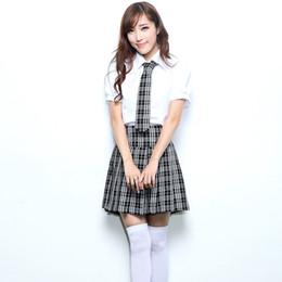 Wholesale Korean Suits For Girls - Fashion British Style Costume For Women Korean Japanese Junior High School Cosplay Girls Uniform Plaid Female Skirt Suits