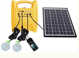 Wholesale Small Solar Panel System - 10w portable off-grid small solar power system for home lighting kit with 2 LED Lights Solar Panel and Battery for Camping fishing Charge