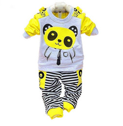 Wholesale Boys Sport Coat 12 - 2016 summer new style baby boys and girls sport suits kids long sleeve panda sets children's coat and pant 2 piece sets.