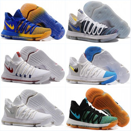 Wholesale Ups Grade - 2017 New Zoom KD 10 Anniversary PE Oreo Red Men Basketball Shoes KD 10 X Elite Low Kevin Durant Grade School Sport Sneakers