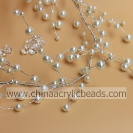Wholesale Wedding Centerpieces Pearls - round artificial pearl wholesale Crystal Beaded Garland on Silver Wire wedding favour