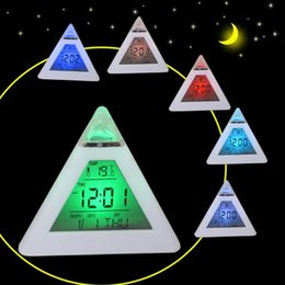 Wholesale Color Change Digital Table Clock - 7 LED Color Changing Alarm Clock Triangle Pyramid Style Hermometer Desk Clock Free Shipping Digital Table Clock for Men Women Gift
