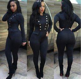 Wholesale Black Cotton Bandage Pants - 2016 New Fall Women Clubbing Rompers Work Wear Woman Sexy Slim Bodycon Bandage Jumpsuit Romper Pants Lady Jumpsuits Clothing
