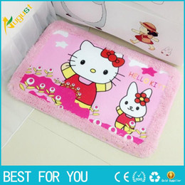 Wholesale Live Corals Wholesale - New hot hello kitty Carpet alfombra Strips Door Mat Hall Bathroom KitchenHome Rug Absorbent Non-slip Coral Velvet Mats