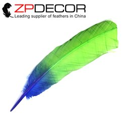 Wholesale Lime Green Feathers - ZPDECOR 100pieces lot 12-14inch(30-35cm) 2016 New Arrival Dyed Lime Green and Blue Ombre Turkey Rounds Wing Quill Feather for Angel Wings
