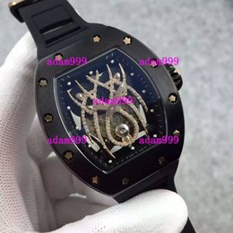 Wholesale Mechanical Spider - Top Quality Luxury Black Stainless Steel RM19-01 Diamonds Spider Faces Men Automatic Mechanical Watches Rubber Band Mens Business Wristwatch