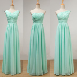 Wholesale Chiffon Junior Bridesmaid - Mint Green Long Chiffon Bridesmaid Dress Lace Up 2018 Pleated Junior Bridesmaid Dresses Floor Length 100% Real Pictures