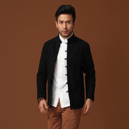 Wholesale Kung Fu Long Coat - Wholesale- Top Selling China Men Cotton Linen Kung Fu Jacket Black Spring Long Sleeves Coat hombre chaqueta Size M L XL XXL XXXL Mim14D
