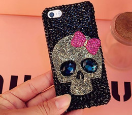 Wholesale Iphone 5s Bow - Rhinestones Bling Cute Metal Skull Pink Bow Gem Hard Cover Case For apple iphone 7 7Plus 6 6S Plus 5 5S SE 5C