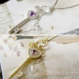 Wholesale Golden Crown Necklace - Womens Fashion Amethyst Love Golden Silver Crown Key Shape Necklace C00536