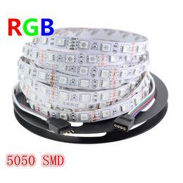 Wholesale Smd Meter - 5 Meters 300Leds RGB Led Strip Light 5050 SMD 60Leds M Non-waterproof DC 12V Indoor Lighting