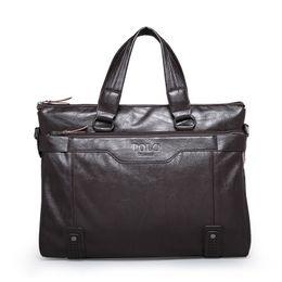 Wholesale Cheap Business Briefcase - Cheap 6001-4 Men Messenger Bags PU Leather Business Shoulder Bag Men's Travel Tote Shoulder Handbags Vintage Briefcase Handbag XB120