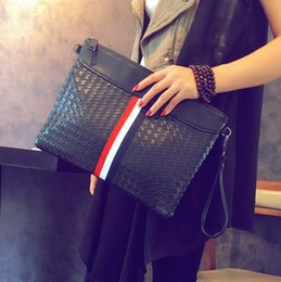 Wholesale Large Black Envelopes - Factory wholesale brand fashion woven bag man hand bag casual stripe leather Envelope Clutch trend of large capacity Leather Shoulder Bag