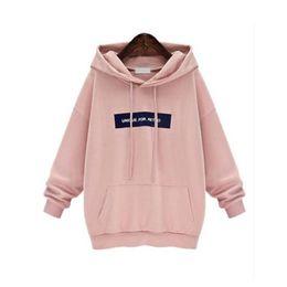 Wholesale Women Loose Grey Sweatshirts - Wholesale- 2017 Women Hoodies Sweatshirt Female Letters Printed Tops Leisure Loose Autumn Winter Warm Hooded Pink Grey Tracksuit Sportwear