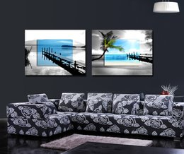Wholesale Canvas Pier - Free shipping 2 Pieces no frame Canvas Prints Wooden pier Palm tree lion zebra cattle leopard giraffe Sailing boat orchid potted flower