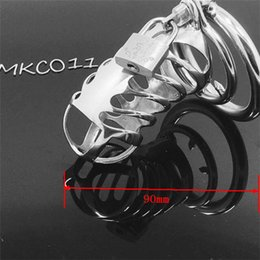 Wholesale Men Lockable Cage - Cock Lock Stainless Steel Lockable Penis Cage Penis Cock Ring Sleeve Male Chastity Device Cage Belt Cockring Sex Toys For Men MKC011