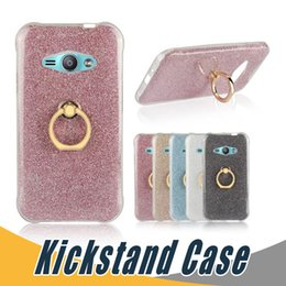 Wholesale Glitter S4 - Ring Buckle Bracket Silicone Glitter Case For Samsung S4 Mini S5 E5 E7 C5 C7 Pro G360 G710 J7 Max