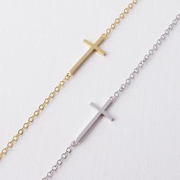 Wholesale Simple Cross Bracelet - 10pcs lot Gold Silver Simple Sideways Cross Charm Bracelet Horizon Faith Christian Cross Bracelet Jewelry B9
