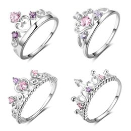 Wholesale Wholesale Crown Gifts - 925 sterling silver crown rings wedding ring women engagement rings silver pandora rings lots mix size 10pcs lot