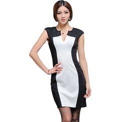 Wholesale Empire Waist Casual Dress - 2016 Summer Fashion for Women Sexy Deep V Neck High Waist Pencil Dresses for OL Work Suits Slim Elegant QZ917