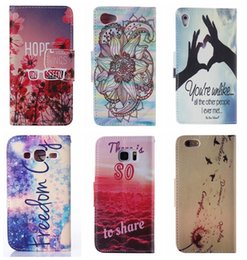 Wholesale Iphone 4s Cartoon Flip Case - Flip Cover Leather Pouch For Iphone 6 6S Plus SE 5 5S 4S Sony Xperia Z5 Compact Huawei P8 Lite Feather Wallet Wave Flower Panda Cartoon Skin