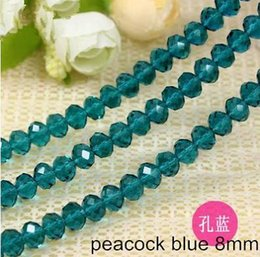 Wholesale Religious Materials - glass beads charms bangles making diy materials round wheel flat faceted lucency blue loose bead 8*6mm jewelry components & findings 5 sets