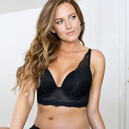 Wholesale Bra Dd - Women Big Breast Bra Sexy Lacy Women Bra 3 4 Cup Underwire Push Up High Quality Big Size Plus Size 30-46D DD DDD E F FF G L5351
