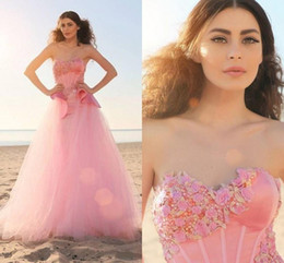 Wholesale Colored Cheap Wedding Dresses - Fashion Colored Pink Wedding Dresses 2015 Spring A Line Sweetheart Floor Length Tulle Wedding Dresses Custom Made Cheap Bridal Gowns