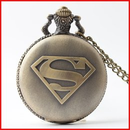 Wholesale Modern Mark - Bronze superhero superman Pocket Watch necklaces S mark locket Fob quartz Watches men women \Fashin jewelry gift 230157